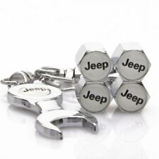 4 Pack Chrome Jeep Logo Valve Stem Caps With Wrench Tire Wheel New Free Shipping