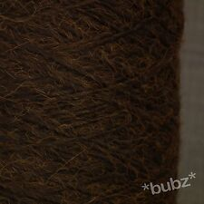 SUPER SOFT 4 PLY WOOL MOHAIR BLEND YARN - LARGE 500g CONE 10 BALLS - DEEP BROWN