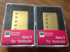 Seymour Duncan Alnico II Pro APH-1n and APH-1b Humbucker Pickup Set Gold Covers