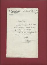 Il Popolo d'Italia - Lettera su Carta Intestata della Redazione 21/07/1937