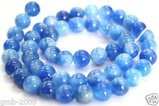 8mm Natural Blue White Two Jade Round Gemstone Loose Beads 15""