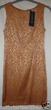 Vintage LESLIE ASH Dress Gold / Bronze RETRO Leaf 1980's Size 10-12 BNWT RRP £60