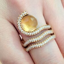 Citrine and Diamond Wrap Ring in 18k Yellow Gold by GIOVANNI FERRARIS- HM920