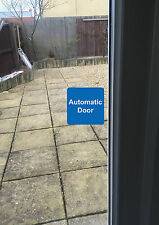 4x AUTOMATIC DOOR sign sticker white and blue vinyl square 75mmx75mm small