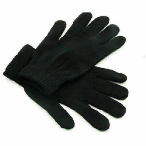 Pure black woolen gloves for men and women cycling soft and warm knitting gloves