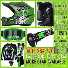 KIDS PEEWEE GREEN DIRT BIKE SPROCK HELMET GOGGLE GLOVES JERSEY PANTS BOOTS KIT