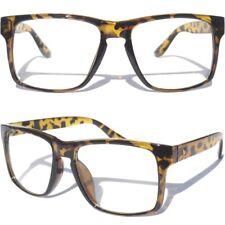Clear Lens Glasses Large Front Squared Retro Frame Aviator Nerd Demi Tortoise