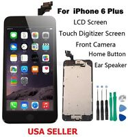 """Black LCD Touch Screen Display Digitizer For iPhone 6 Plus 5.5"""" 6+ Home Button"""