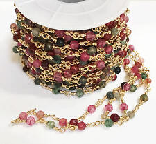 One feet Gold plated brass beaded chain with 4mm Natural light Pink/green agate