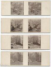 STC462 stereoview photo STEREO Vintage Lot de 7 amateur femme pic-nic foret