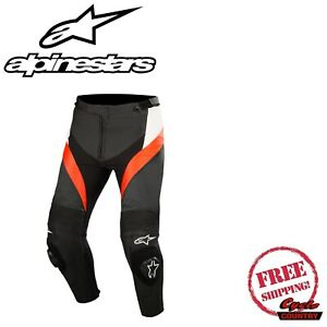 ALPINESTARS MISSILE LEATHER MOTORCYCLE PANTS BLACK/WHITE/RED FLUORESCENT size 48