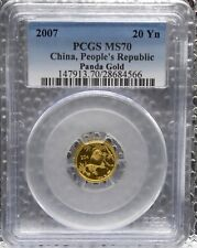 China 2007 Panda Gold PCGS MS70 20 Yuan 1/20th Coin Population of 6