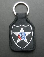US ARMY 2ND INFANTRY DIVISION EMBROIDERED KEY CHAIN KEY RING 1.75 X 2.75 INCHES