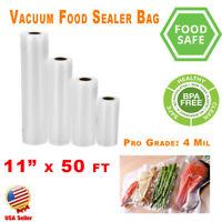 "2 Pack Vacuum Sealer Rolls 11""x50' FoodSaver Style Food Bags Storage Magic 4 Mil"