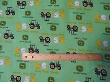 2 Yards Green John Deere Tractor/Ducks Cotton Fabric