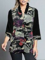 Ali Miles Womens Jackets Black Size 2X Plus Lightweight Floral Print $58- 618