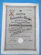Poland Aktie der Hohenlohe-Werke 1000 Reichsmark 250 Zlotych 1905-1923