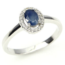 RARE OVAL 6x4mm RICH BLUE SAPPHIRE SOLITAIRE & W.CZ STERLING 925 SILVER RING SZ9