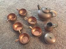 Vintage Copper Tea Set - 6 Cups Teapot Creamer Sugar - Marked - Rattan Wrapped