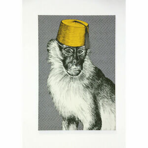 Monkey Madness Quirky Grey Ochre Printed Canvas Wall Art Picture Home Decor