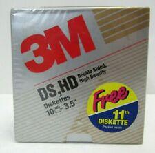 3M DS/HD 3.5 Floppy Disks Unformatted diskettes IBM Or Machintosh Pack 11 New