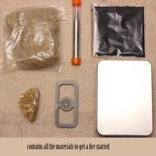 Flint Fire Starter Flint Stone Kit Primitive w/ Jute Tinder Box Pocket