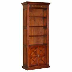 STUNNING VERY TALL LIBRARY BOOKCASE WITH BRONZE BOOKCASE LETTERS SLIDING DOORS