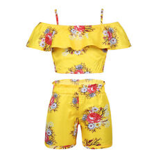 Kids Girls Casual Summer Outfit Set Yellow Floral Printed Holiday Beach Costume