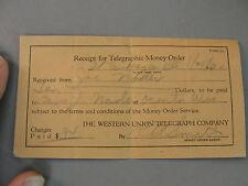 ✨ WESTERN UNION TELEGRAPH COMPANY TELEGRAPHIC MONEY ORDER RECEIPT VINTAGE 1930