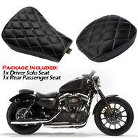 Motorrad Fahrer Solo Sitz+Hinten Sitzbank für Harley Sportster XL1200 883 72 48
