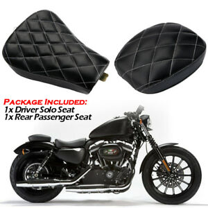 Motorcycle Driver Solo Seat + Rear Seat For Harley Sportster xl1200 883 72 48