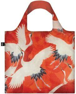 LOQI Haori Red & White Cranes Tote Bag Reusable Shopping Travel Beach bag