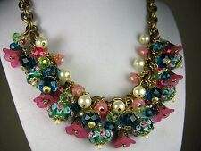 Vintage Cluster Statement Necklace Crystal Glass Charm Brass Haskell Chain