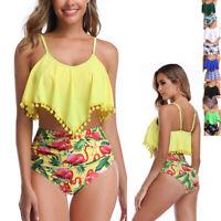 Womens High Waisted Swimsuit Flounce Swimwear Racerback Two Piece Bikini Tassel