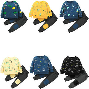 Kid Boys Clothing Cartoon Dinosaur Print Sweatshirt Suit Pullover Top Pants Set