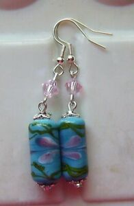 TURQUOISE PINK PETALS LAMPWORK GLASS EARRINGS