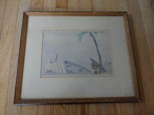 "Rare 1922 ""The Dock"" 36/100 Woodblock Print Walter Joseph Phillips (1884-1963)"