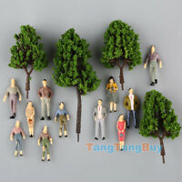 100 Painted People Figures &16 Green Model Pine Trees Train Scenery 1:50 O scale