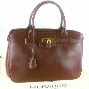 MORABITO Paris Leather Hand Bag Purse Brown Gold HDW