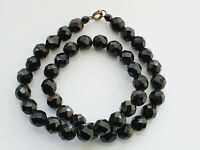 "Art Deco 15.5"" 1930s Black French Jet Glass Graduated Bead Necklace"