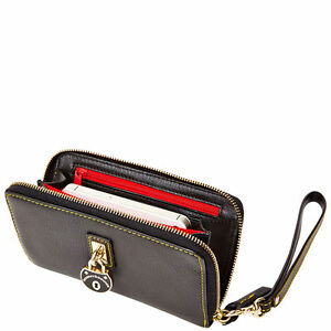 Dooney & Bourke Black Leather SAMBA ZIP around Clutch PHONE Wristlet Wallet New