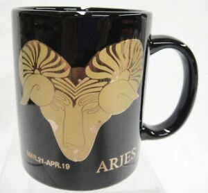 Zodiac Aries Coffee Mug Black with Gold Ram March 21 - April 19 Excellent