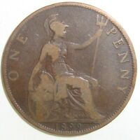 1899 GREAT BRITAIN ONE 1 PENNY VICTORIA NICE WORLD COIN