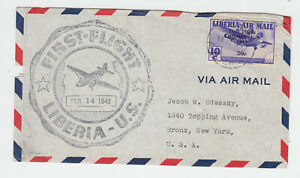 Liberia # C22 First Flight Cover to NY 1941 Surcharge Airplane CV Used Stamp $50