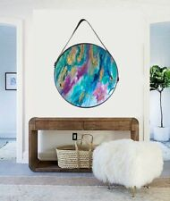 Resin Glass + Framed Hanging Round Abstract Canvas Painting Original Art Blue