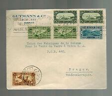 1937 Damascus Syria Cover to Prague Czehcoslovakia Gutmann & Co
