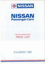 Nissan Price List 1987 Mar Micra New Sunny Bluebird Prairie Silvia Laurel 300