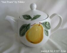 """Just Pears by Nikko Ceramics Teapot & Lid, 4 5/8"""", 4 cup - New"""