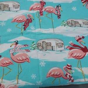 Nick & Nora Christmas Flamingo Airstream Camper Flannel 2 Pillow cases Standard