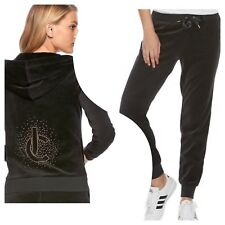 New Women's Juicy Couture Tracksuit Black Bling Velour Hoodie Jogger Pants 2pc M